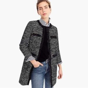 J. Crew Tweed Lurex Lady Coat With Braided Trim